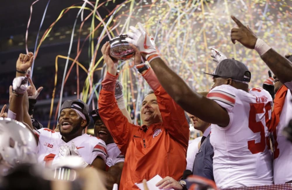 Ohio State-Urban Meyer-Big Ten championship-Big Ten championship trophy-Ohio State Buckeyes-Ohio State football