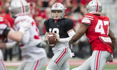Tate Martell throws pass-Tate Martell-Ohio State Buckeyes-Ohio State football-Ohio State quarterback