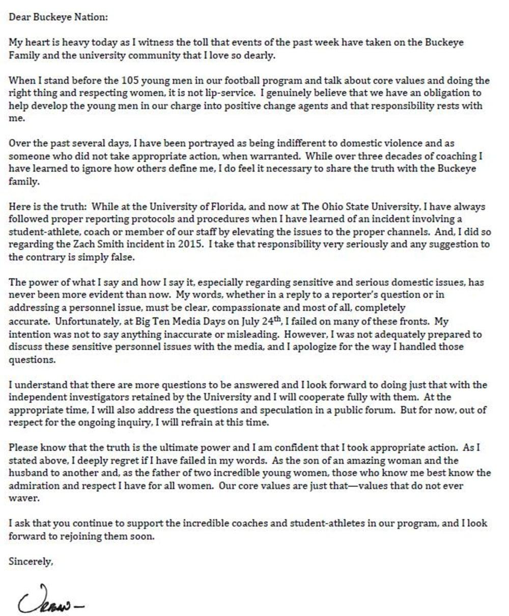 urban meyer letter