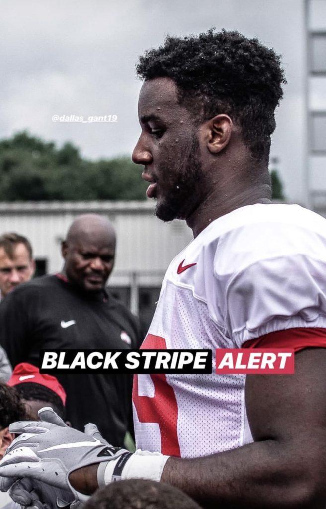 ohio state-dallas gant-black stripe-buckeyes-ohio state-football