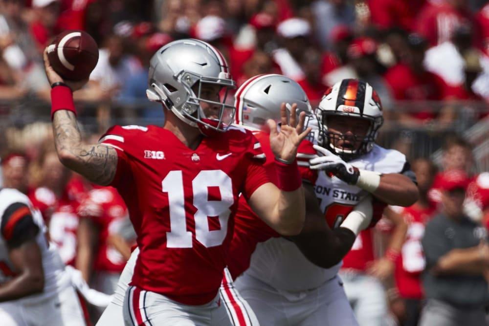 Tate Martell throwing-Tate Martell-Ohio State quarterback-Ohio State Buckeyes
