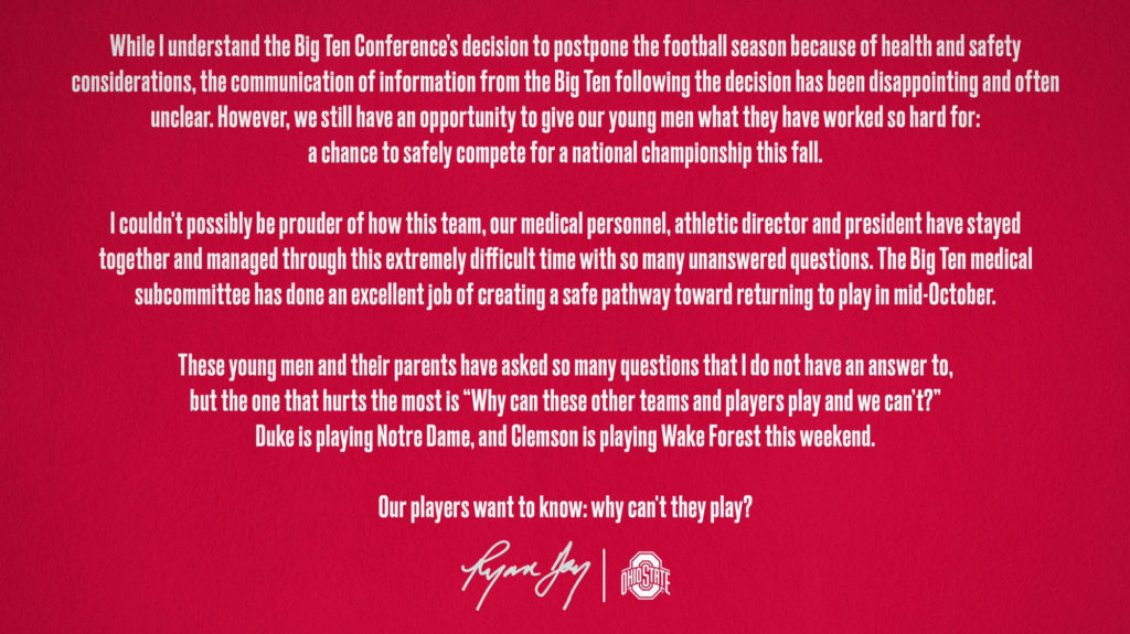 ohio state football ryan day statement big ten